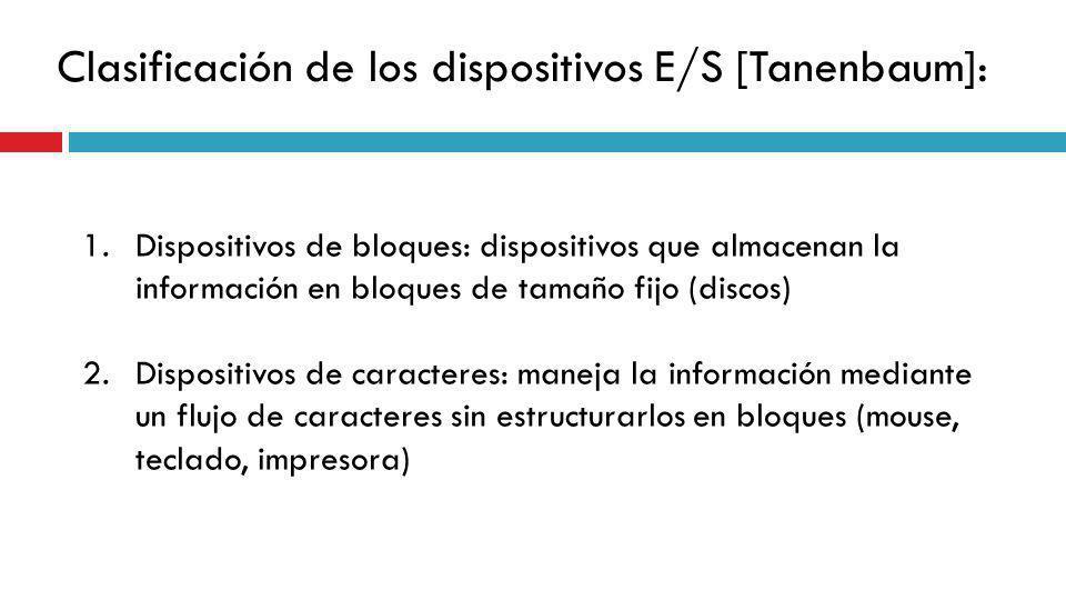 Clasificación de los dispositivos E/S [Tanenbaum]: